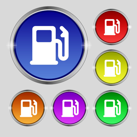 Petrol or Gas station, Car fuel icon sign. Round symbol on bright colourful buttons. Vector illustration