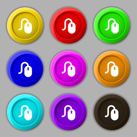 scroll wheel: Computer mouse icon sign. symbol on nine round colourful buttons. Vector illustration