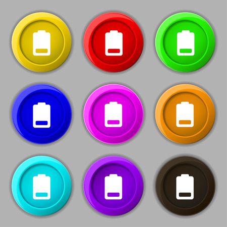 electricity icon: Battery low level, Electricity icon sign. symbol on nine round colourful buttons. Vector illustration Illustration