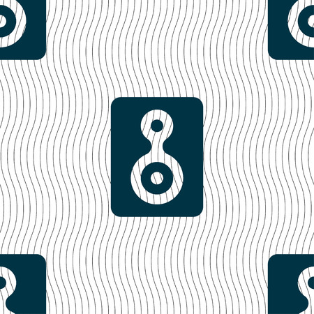 vcr: Video Tape icon sign. Seamless pattern with geometric texture. Vector illustration