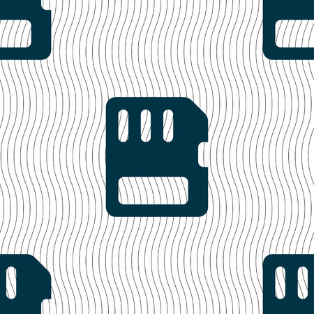 memory card: compact memory card icon sign. Seamless pattern with geometric texture. Vector illustration Illustration