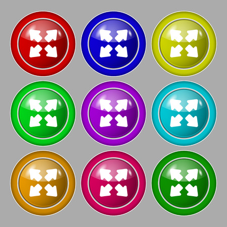 size: Deploying video, screen size icon sign. symbol on nine round colourful buttons. Vector illustration