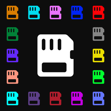 memory card: compact memory card  icon sign. Lots of colorful symbols for your design. Vector illustration Illustration