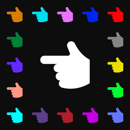 www arm: pointing hand  icon sign. Lots of colorful symbols for your design. Vector illustration
