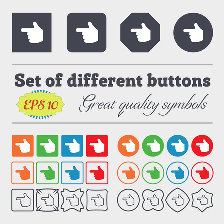 pointing hand  icon sign. Big set of colorful, diverse, high-quality buttons. Vector illustration Vector