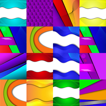 sixteen: Set of sixteen different and colorful abstract backgrounds. Illustration Illustration