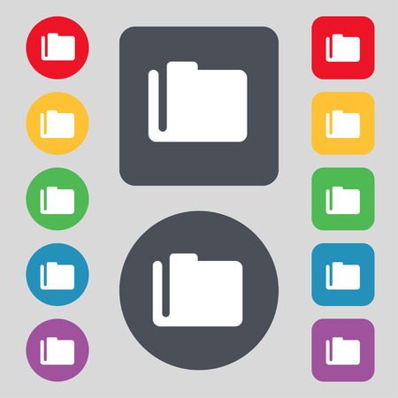 map case: Document folder  icon sign. A set of 12 colored buttons. Flat design. Vector illustration