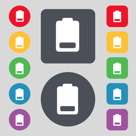 electricity icon: Battery low level, Electricity  icon sign. A set of 12 colored buttons. Flat design. Vector illustration