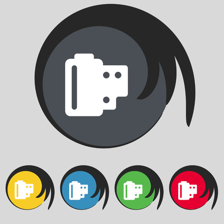 35 mm: 35 mm negative films icon sign. Symbol on five colored buttons. Vector illustration