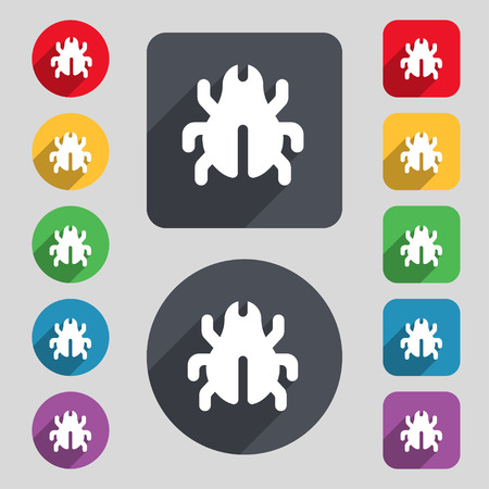 disinfection: Software Bug, Virus, Disinfection, beetle  icon sign. A set of 12 colored buttons and a long shadow. Flat design. Vector illustration