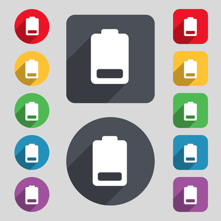 electricity icon: Battery low level, Electricity  icon sign. A set of 12 colored buttons and a long shadow. Flat design. Vector illustration Illustration