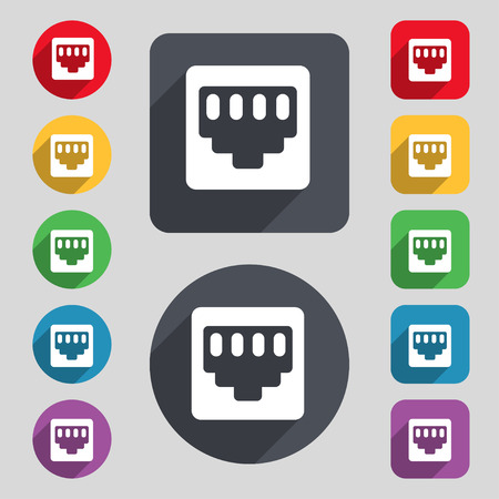 interconnect: cable rj45, Patch Cord  icon sign. A set of 12 colored buttons and a long shadow. Flat design. Vector illustration Illustration