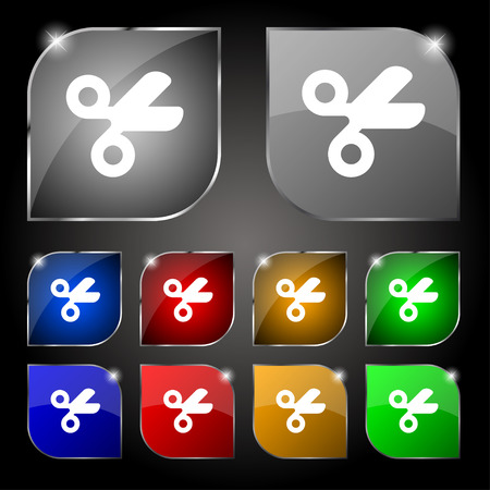 disclosed: Scissors hairdresser, Tailor icon sign. Set of ten colorful buttons with glare. Vector illustration