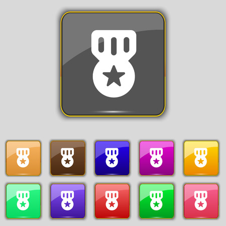 merit: Award, Medal of Honor icon sign. Set with eleven colored buttons for your site. Vector illustration