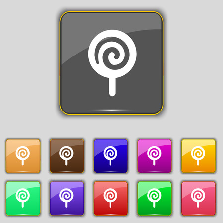candy icon sign. Set with eleven colored buttons for your site. Vector illustration