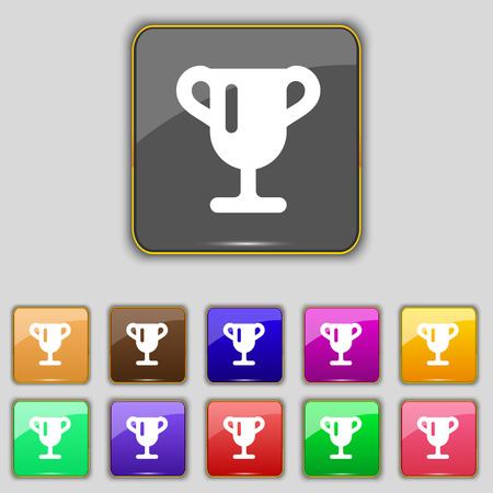 awarding: Winner cup, Awarding of winners, Trophy icon sign. Set with eleven colored buttons for your site. Vector illustration Illustration