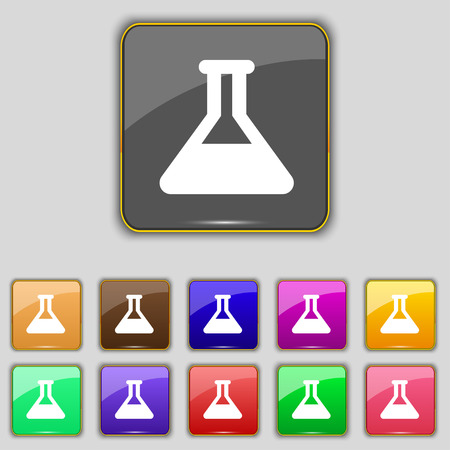 medical testing: Conical Flask icon sign. Set with eleven colored buttons for your site. Vector illustration