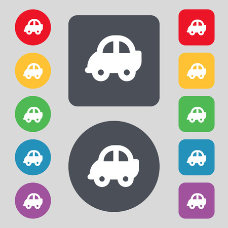 hatchback: Auto  icon sign. A set of 12 colored buttons. Flat design. Vector illustration Illustration