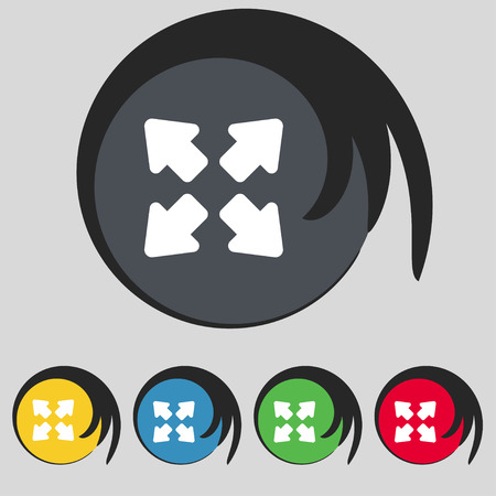 screen size: Deploying video, screen size icon sign. Symbol on five colored buttons. Vector illustration