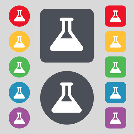 conical: Conical Flask  icon sign. A set of 12 colored buttons. Flat design. Vector illustration Illustration