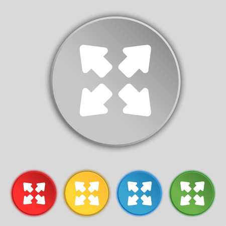 full size: Deploying video, screen size icon sign. Symbol on five flat buttons. Vector illustration