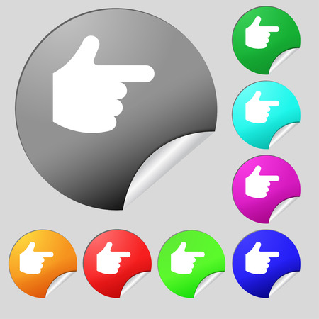 www arm: pointing hand  icon sign. Set of eight multi-colored round buttons, stickers. Vector illustration Illustration