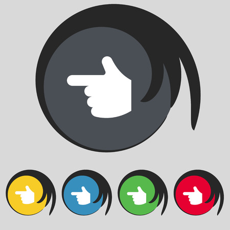 www arm: pointing hand icon sign. Symbol on five colored buttons. Vector illustration