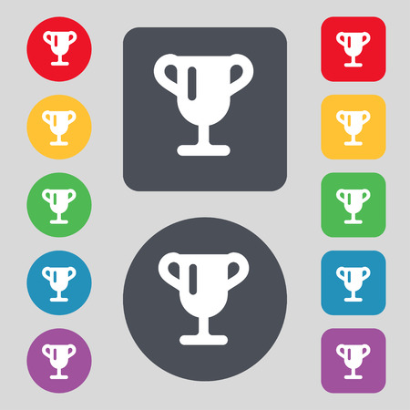 awarding: Winner cup, Awarding of winners, Trophy  icon sign. A set of 12 colored buttons. Flat design. Vector illustration Illustration