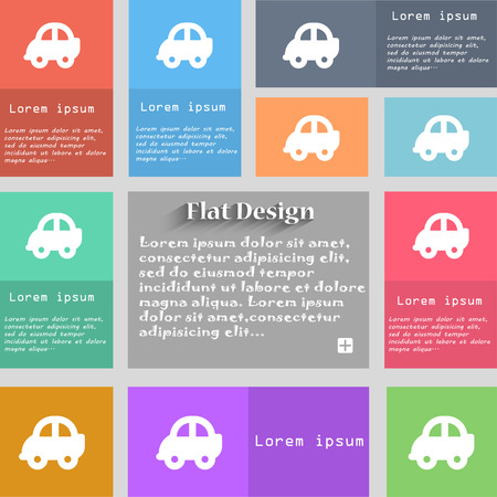 racing sign: Auto icon sign. Set of multicolored buttons. Metro style with space for text. The Long Shadow Vector illustration