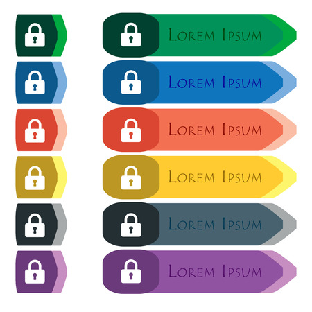 pad lock: Pad Lock  icon sign. Set of colorful, bright long buttons with additional small modules. Flat design. Vector Vectores