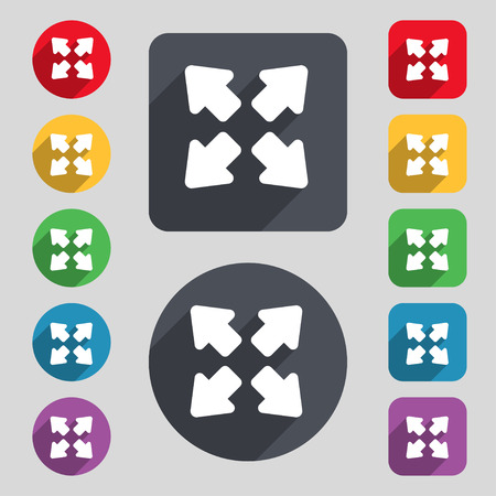 size: Deploying video, screen size  icon sign. A set of 12 colored buttons and a long shadow. Flat design. Vector illustration