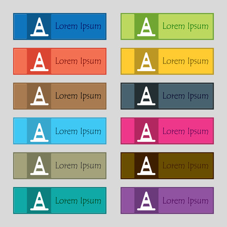 traffic pylon: road cone  icon sign. Set of twelve rectangular, colorful, beautiful, high-quality buttons for the site. Vector illustration Illustration