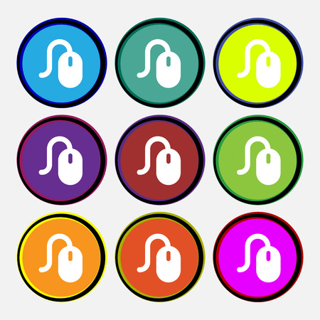 computer mouse icon: Computer mouse  icon sign. Nine multi-colored round buttons. Vector illustration