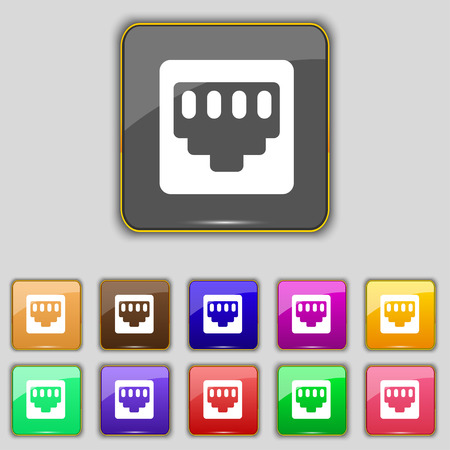 interconnect: cable rj45, Patch Cord icon sign. Set with eleven colored buttons for your site. Vector illustration