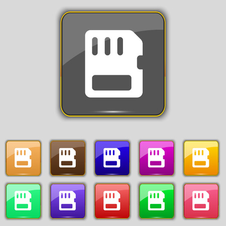 memory card: compact memory card icon sign. Set with eleven colored buttons for your site. Vector illustration