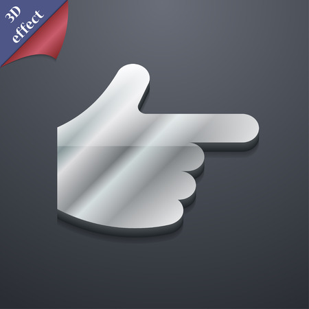 pointing hand  icon symbol. 3D style. Trendy, modern design with space for your text Vector illustration