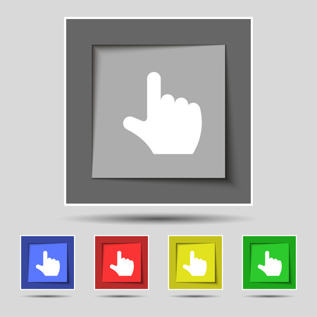 pointing hand icon sign on the original five colored buttons. Vector illustration Vector