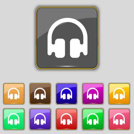 earphones: Headphones, Earphones icon sign. Set with eleven colored buttons for your site. Vector illustration