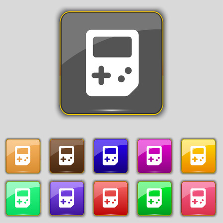 tetris: Tetris icon sign. Set with eleven colored buttons for your site. Vector illustration