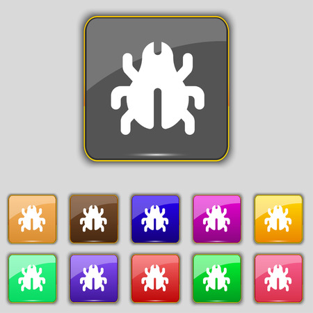 acarus: Software Bug, Virus, Disinfection, beetle icon sign. Set with eleven colored buttons for your site. Vector illustration
