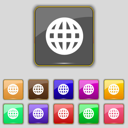 geography: Globe, World map geography icon sign. Set with eleven colored buttons for your site. Vector illustration Illustration