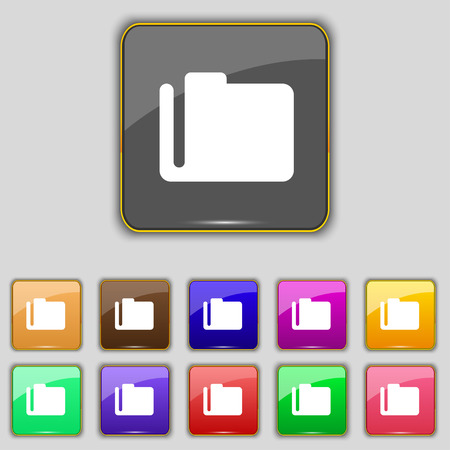 eleven: Document folder icon sign. Set with eleven colored buttons for your site. Vector illustration Illustration