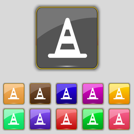 traffic pylon: road cone icon sign. Set with eleven colored buttons for your site. Vector illustration Illustration