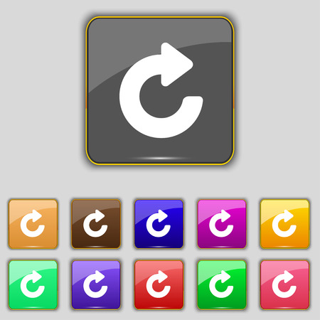 groupware: Upgrade, arrow icon sign. Set with eleven colored buttons for your site. Vector illustration