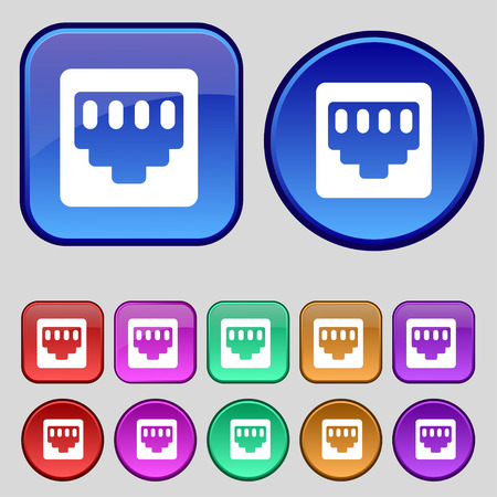 interconnect: cable rj45, Patch Cord icon sign. A set of twelve vintage buttons for your design. Vector illustration