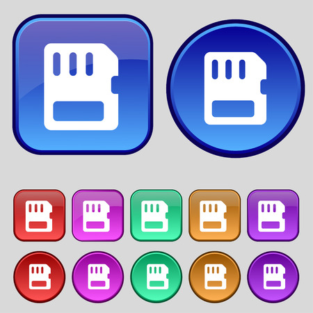 memory card: compact memory card icon sign. A set of twelve vintage buttons for your design. Vector illustration
