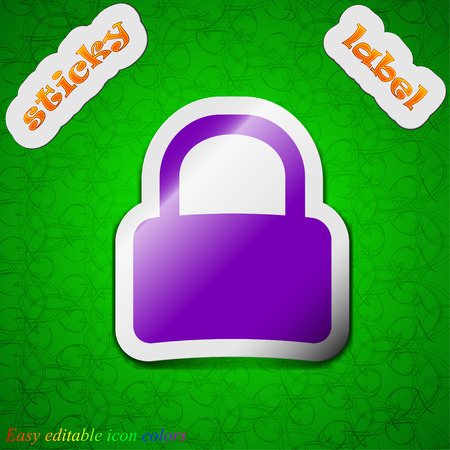 pad lock: Pad Lock  icon sign. Symbol chic colored sticky label on green background. Vector illustration Illustration