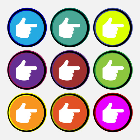 pointing hand  icon sign. Nine multi-colored round buttons. Vector illustration Vector