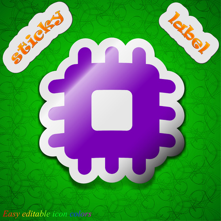 the unit: Central Processing Unit  icon sign. Symbol chic colored sticky label on green background. Vector illustration