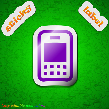 telephony: Mobile telecommunications technology  icon sign. Symbol chic colored sticky label on green background. Vector illustration